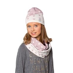 Czapka młodzieżowa, dziewczęca + komin, szalik  AUDREY Loman