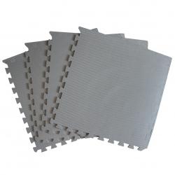 Mata puzzle z krawędziami szara 60x60x1 cm 4 elementy