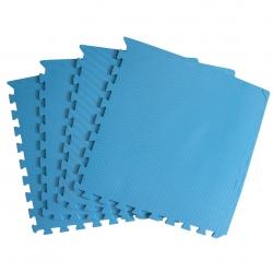 Mata puzzle z krawędziami niebieska 60x60x1 cm 4 elementy