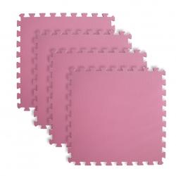 Mata puzzle z krawędziami różowa 60x60x1 cm 4 elementy