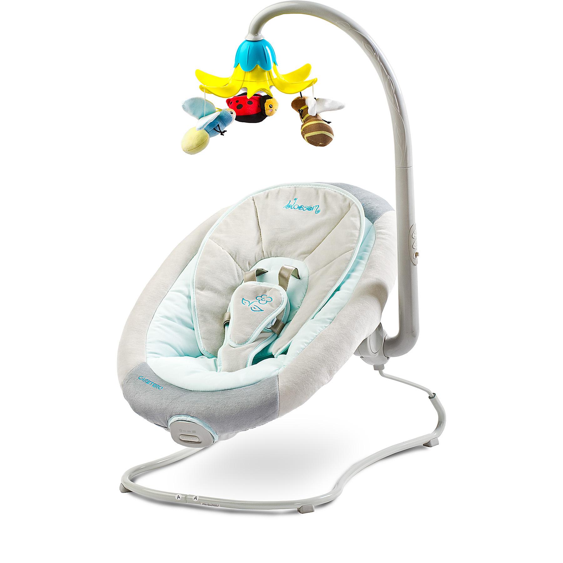 Babyschaukel Babywippe Babysitz Schaukel mit Vibration BLOSSOM GREEN Caretero