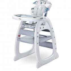 Krzesełko do karmienia 2w1, krzesełko+stolik HOMEE szare Caretero