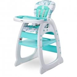 Krzesełko do karmienia 2w1, krzesełko+stolik HOMEE miętowe Caretero