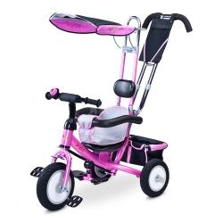 Rowerek dziecięcy, 3-kołowy, daszek, rączka do sterowania DERBY różowy Toyz