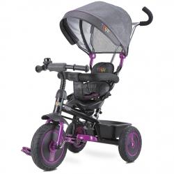 Rowerek 3-kołowy z rączką, daszkiem, trójkołowiec BUZZ fioletowy Toyz