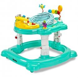 Chodzik dziecięcy 3w1: kołyska + chodzik + pchacz HIPHOP miętowy Toyz