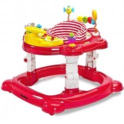 Chodzik dziecięcy 3w1: kołyska + chodzik + pchacz HIPHOP czerwony Toyz