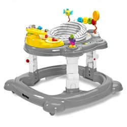 Chodzik dziecięcy 3w1: kołyska + chodzik + pchacz HIPHOP grafitowy Toyz