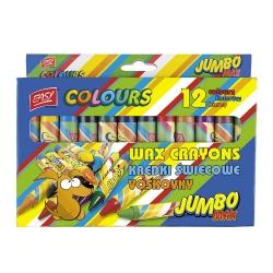 Kredki jumbo, świecowe 12 kolorów EASY