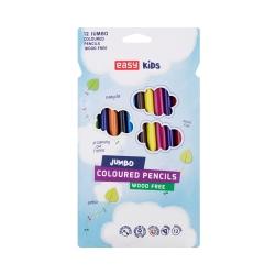 Kredki jumbo plastikowe trójkątne 12 kolorów EASY