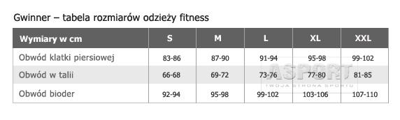 Tabela rozmiarowa Spodenki, szorty fitness ADA Gwinner