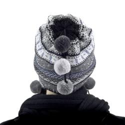 Czapka damska, uszatka, ocieplona polarem, 50% wełny INKA HAZARD Loman