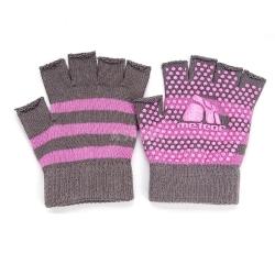 Rękawiczki antypoślizgowe, bez palców, do jogi szaro-różowe Meteor