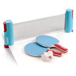 Zestaw do tenisa stołowego SUNRISE ROLLNET 2 rakietki+ 3 piłeczki niebieski