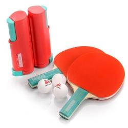 Zestaw do tenisa stołowego SUNRISE ROLLNET 2 rakietki+ 3 piłeczki czerwony