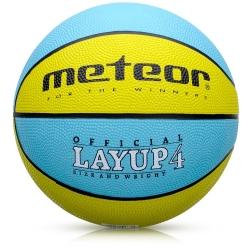Piłka koszowa LAYUP #4 żółto-turkusowa Meteor