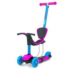Hulajnoga 3-kołowa, rowerek biegowy, 3w1 LITTLE STAR pink-blue Milly Mally