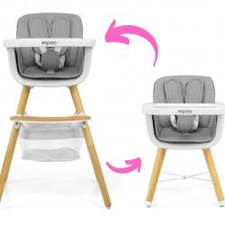 Krzesełko do karmienia 2w1 Espoo Grey Milly Mally