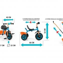 Rowerek dziecięcy 3-kołowy z rączką TURBO Cool Green Milly Mally