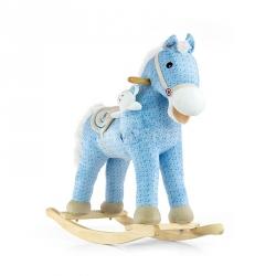 Koń na biegunach, bujany PONY niebieski + miś Milly Mally