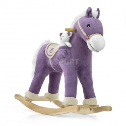 Koń na biegunach, bujany PONY fioletowy + miś Milly Mally