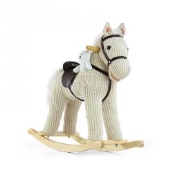 Koń na biegunach, bujany PONY LUNA beżowy + miś Milly Mally