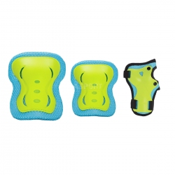 Zestaw ochraniaczy na kolana, łokcie, nadgarstki H320 niebiesko-zielone Nils