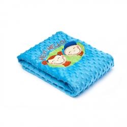 Kocyk dziecięcy do wózka, łóżeczka  HEY! HELLO! niebieski Sensillo