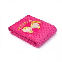 Kocyk dziecięcy do wózka, łóżeczka  HEY! HELLO! różowy Sensillo
