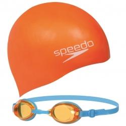 Okularki dziecięce + czepek JET JUNIOR SWIM SET pomarańczowy Speedo