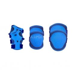 Ochraniacze dziecięce na nadgarstki, kolana, łokcie BUFFER granatowe Spokey