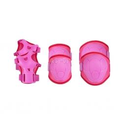 Ochraniacze dziecięce na nadgarstki, kolana, łokcie BUFFER różowe Spokey