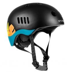 Kask rowerowy BMX PUMPTRACK czarno-niebieski, Liście, Spokey