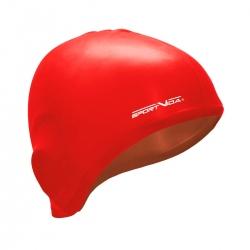 Czepek silikonowy z uchem czerwony Sportvida
