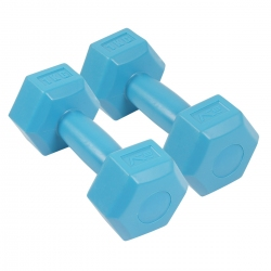 Zestaw hantli 2*1 kg - hantle cementowe niebieskie SportVida