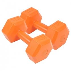 Zestaw hantli 2*3 kg - hantle cementowe pomarańczowe SportVida