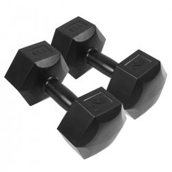 Zestaw hantli 2*6 kg - hantle cementowe czarne SportVida