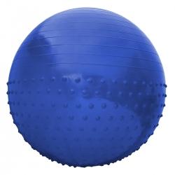 Piłka gimnastyczna masująca z wypustkami 55cm niebieska z pompką