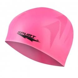 Jednokolorowy czepek silikonowy z tłoczeniem SC16 różowy SPURT