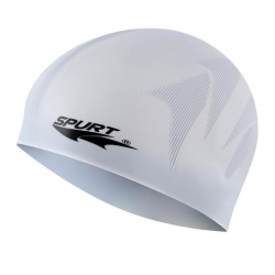 Jednokolorowy czepek silikonowy z tłoczeniem F244 szary SPURT