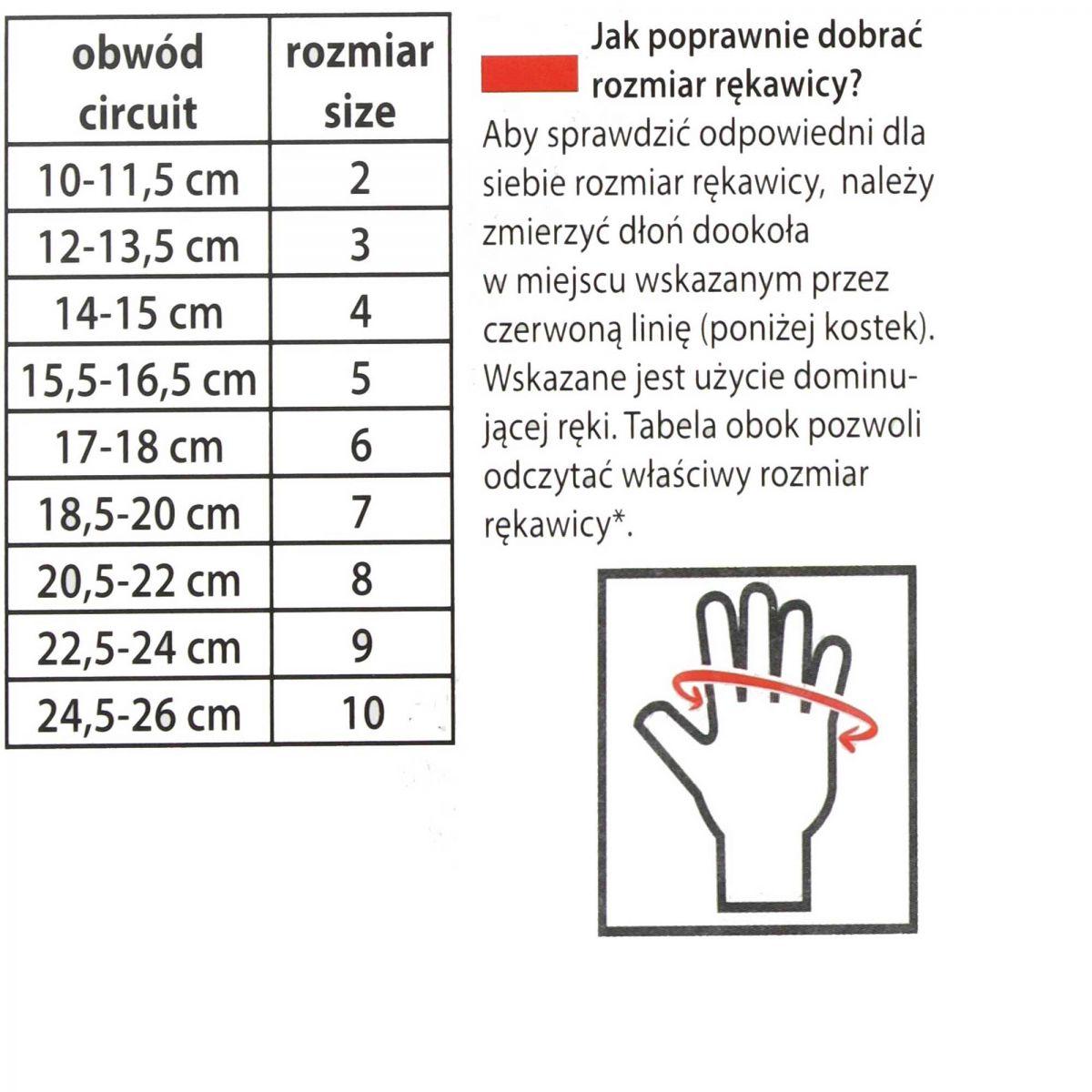 Tabela rozmiarowa Dziecięce rękawice z zamkiem FLICK 70 Viking